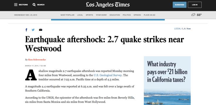 Los Angeles Times informa de una réplica de un terremoto que se produjo en el 2014, gracias a la información recopilada por un robot.