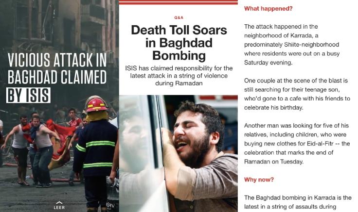 Atentados como el de Bagdad en julio de 2016, explicados por la CNN en Snapchat.