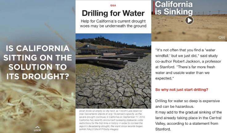 La CNN también ofrece en Snapchat otro tipo de información como este breve reportaje sobre las posibles soluciones a la sequía en California.