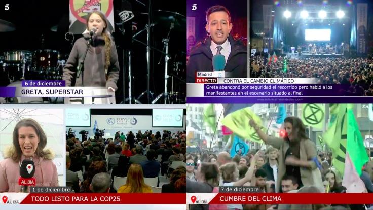 La Cumbre del Clima de Madrid y Greta Thunberg han abierto los informativos de los principales canales de televisión.