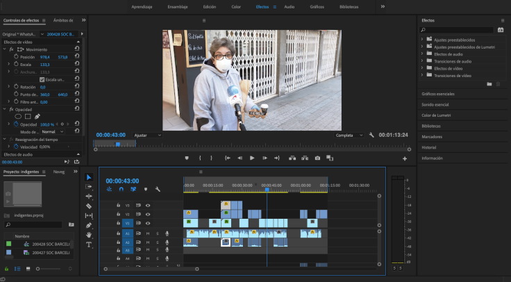 Editar vídeos con Premiere, una de las tareas que puede implicar el teletrabajo para un/a reportero/a.