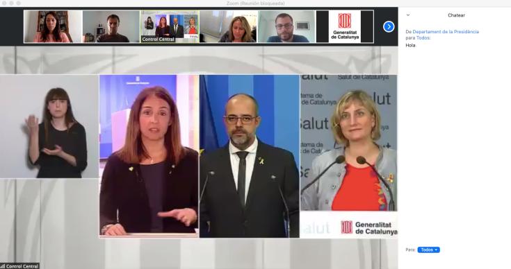 Imagen de la rueda de prensa diaria del Govern de Catalunya a través de la aplicación Zoom.